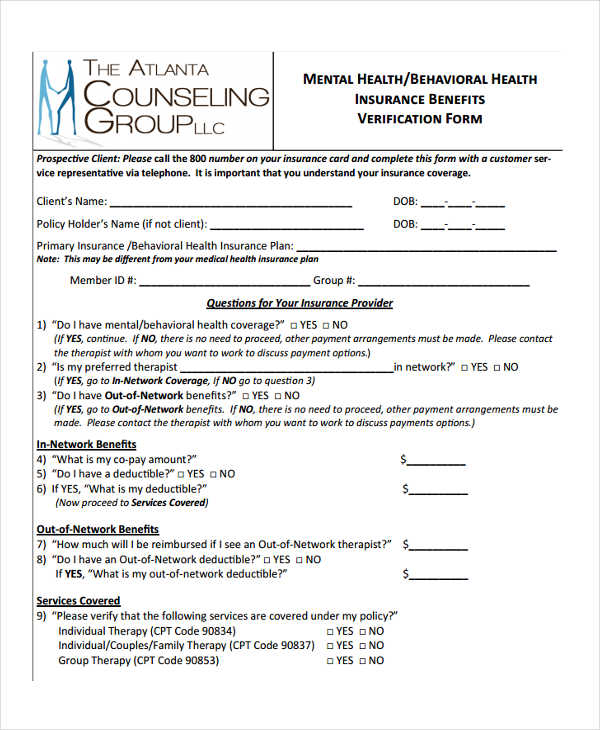 mental health insurance form