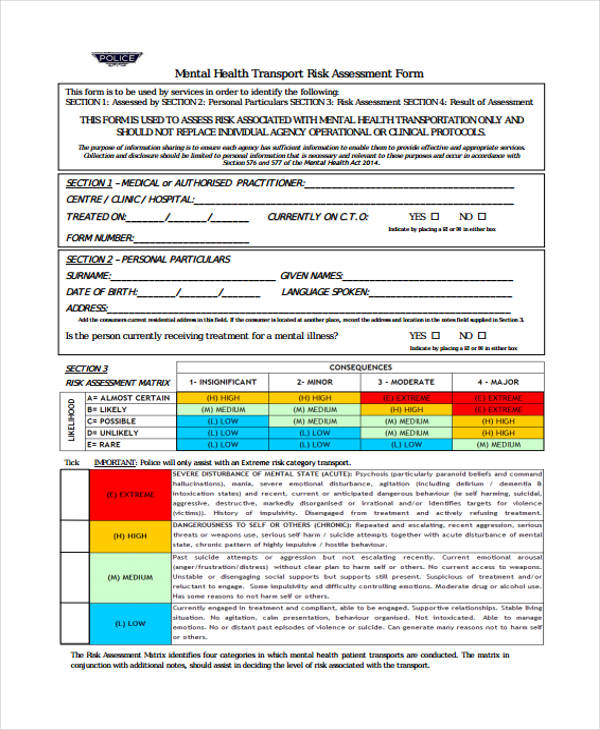 mental health transport risk assessment form