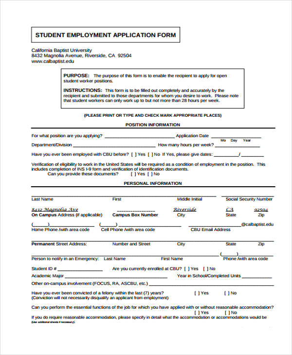 middle school student job application form1