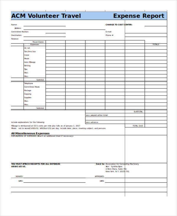 mileage expense report form in xls