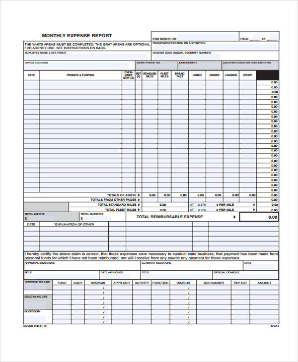 monthly expense report form in xls