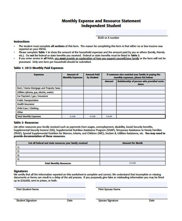 Monthly Expense Resource Statement Form