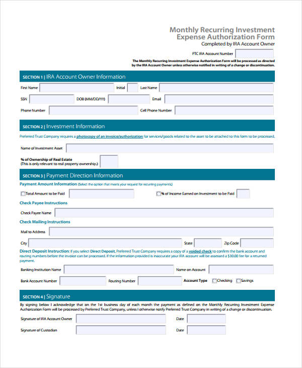 monthly investment expense authorization form