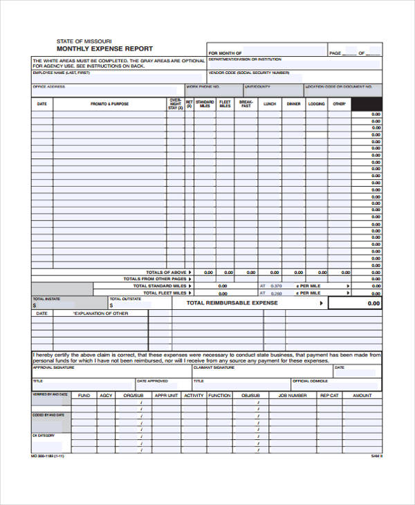 monthly mileage expense report form1