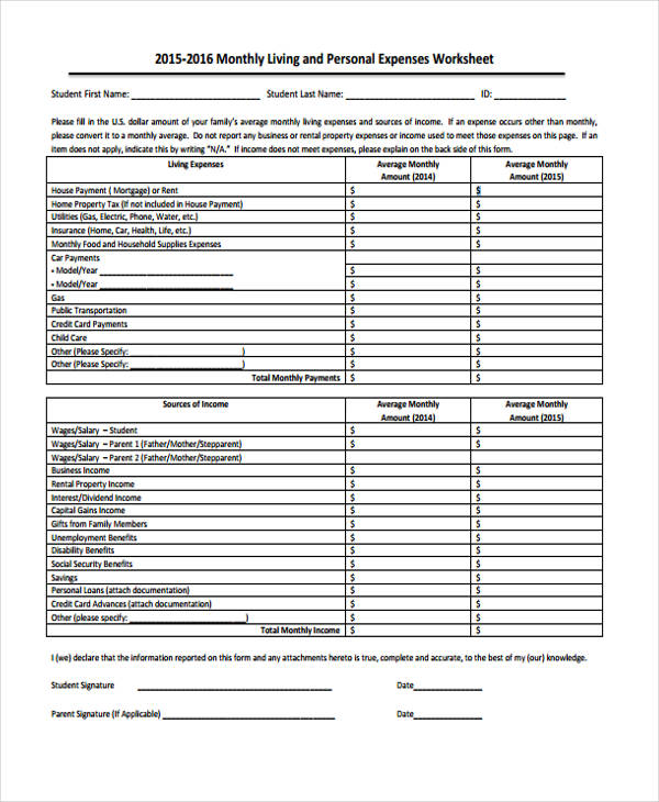 monthly personal expense report form2
