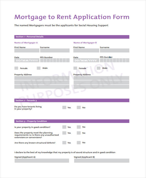 mortgage rent application form