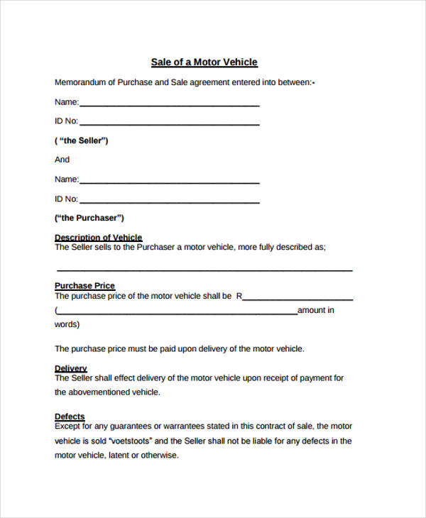 Sample Motor Vehicle Sale Agreement Form  Car Sale Agreement Sample