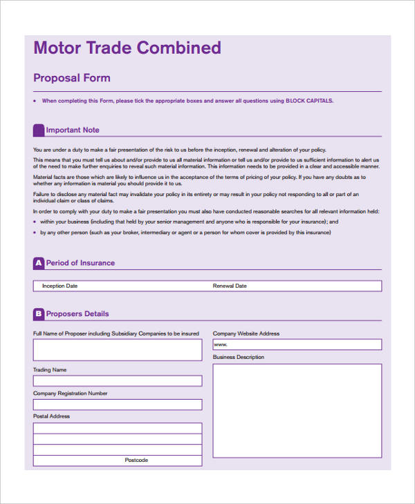 motor trade combined proposal form