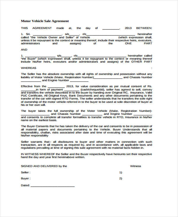 vehicle sales agreement form