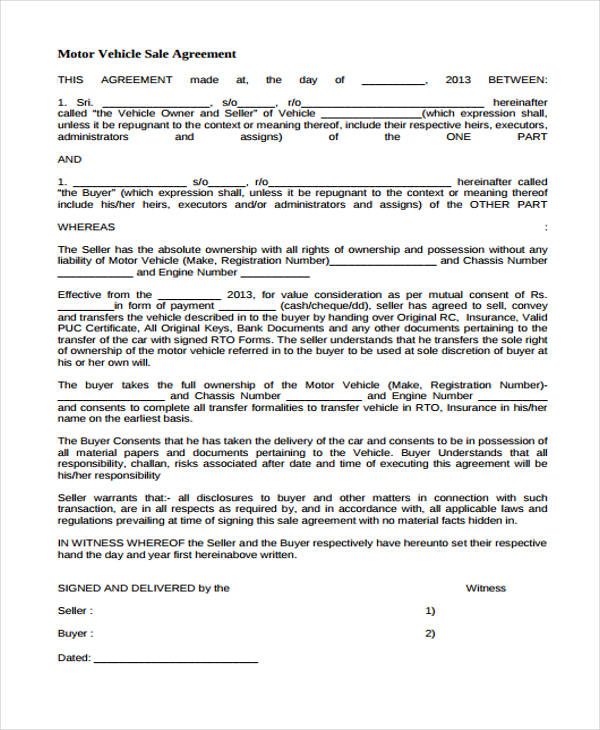 motor vehicle sales agreement form1