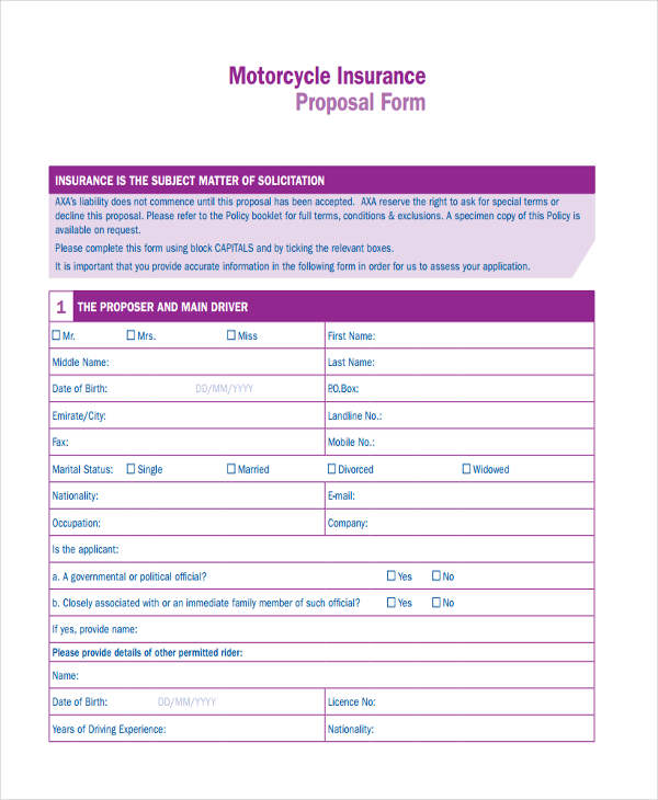 motorcycle insurance proposal form