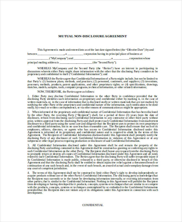 19 Confidentiality Agreement Form Free Documents In
