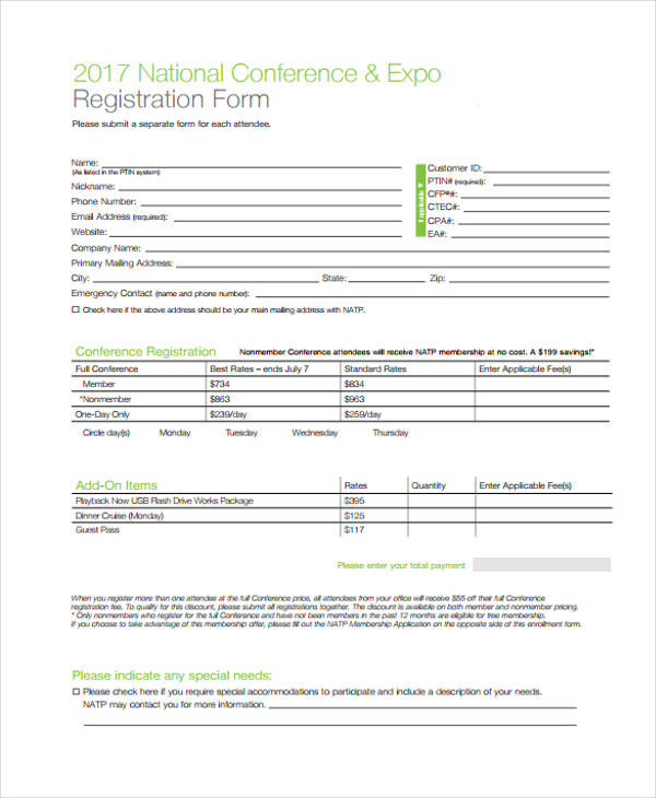 national conference expo registration form