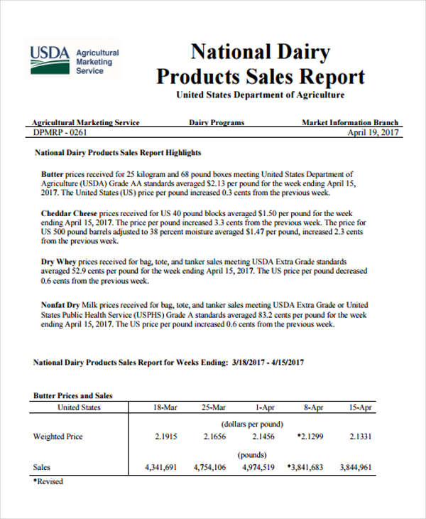 national dairy products sales report form