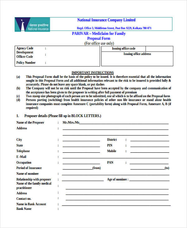 national insurance template  38  Insurance Proposal Form in PDF