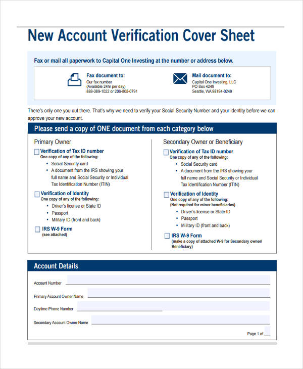 new account verification cover
