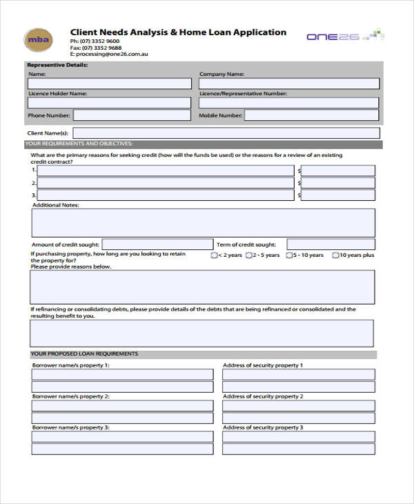 new client needs analysis form