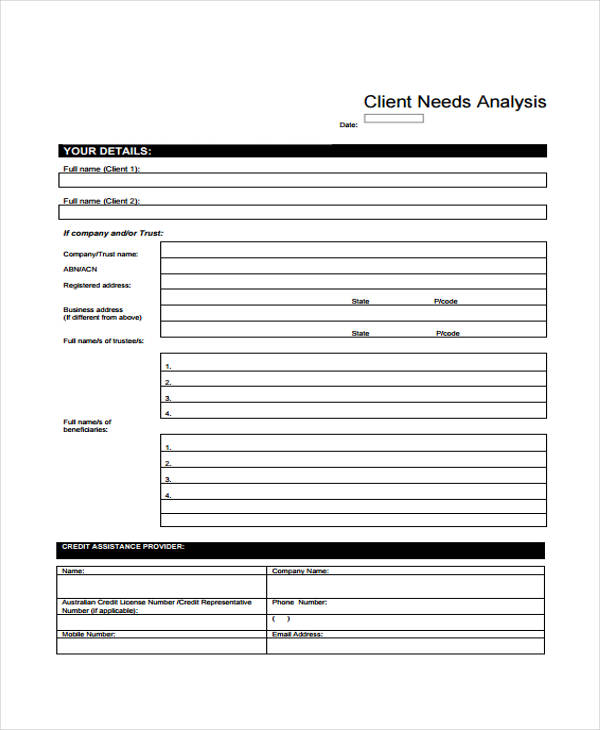 32 Free Needs Assessment Forms