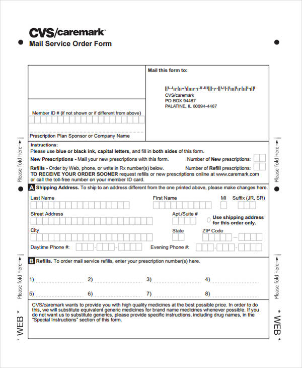 Postal Order Form  Sample Ideas