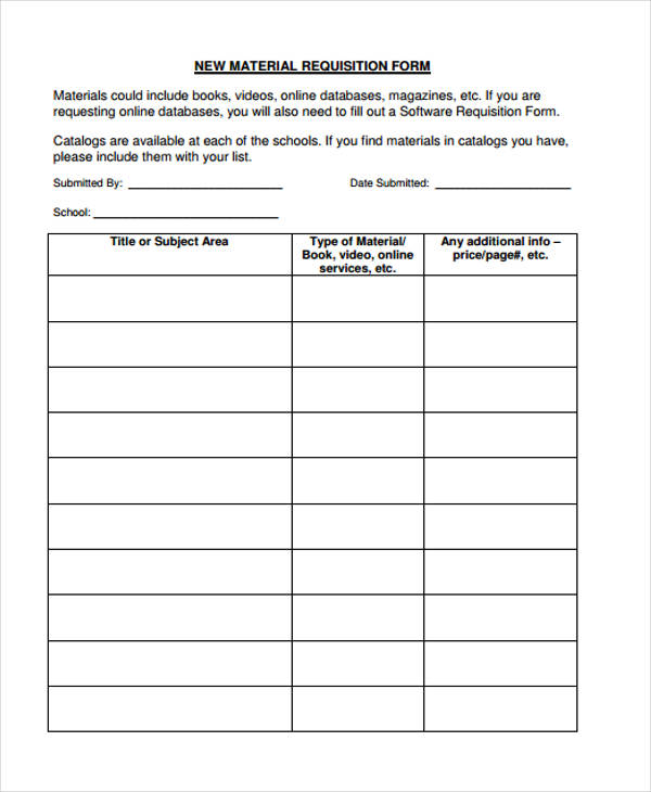 new material requisition form sample