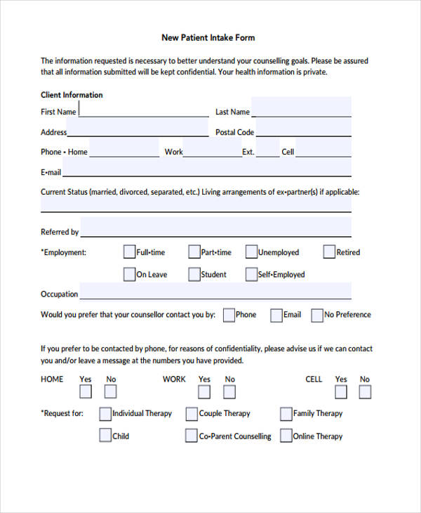 new patient counseling form