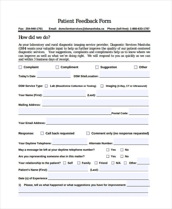 Patient Feedback Form   Free Documents In Word Pdf
