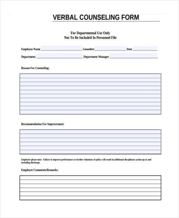 new verbal counseling form
