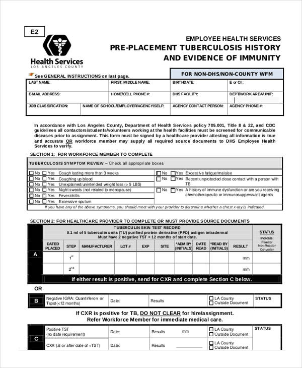 non county employee health clearance form