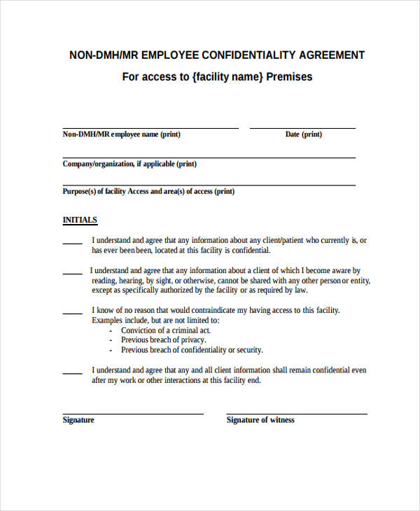 Non Employee Confidentiality Agreement