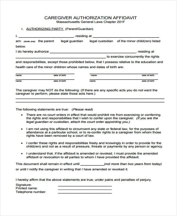 General Affidavit Forms In Pdf