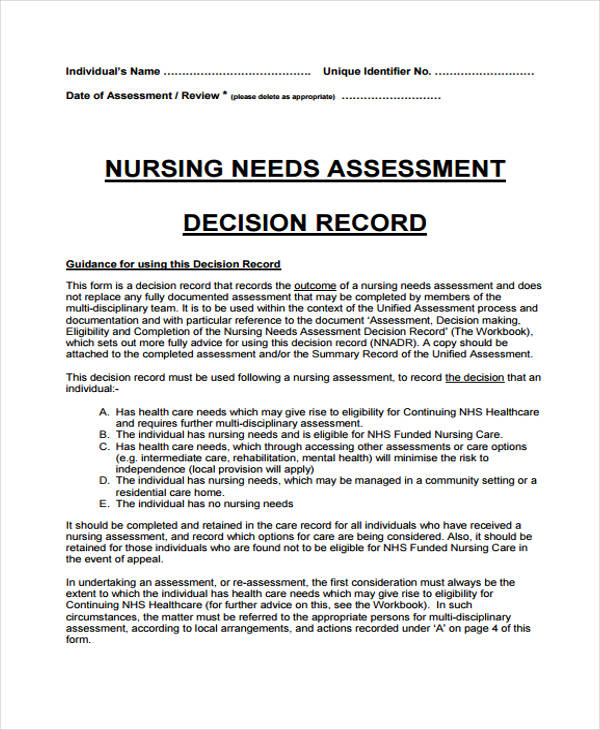 nursing assessment decision record form