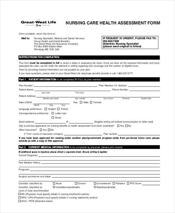 nursing care health assessment form