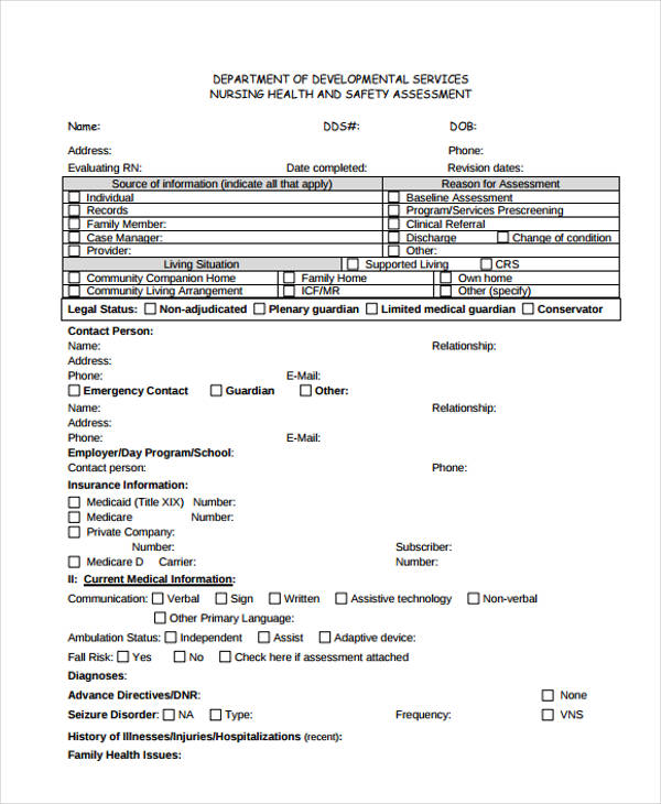 Nursing Assessment Form in PDF – Nursing Assessment Template