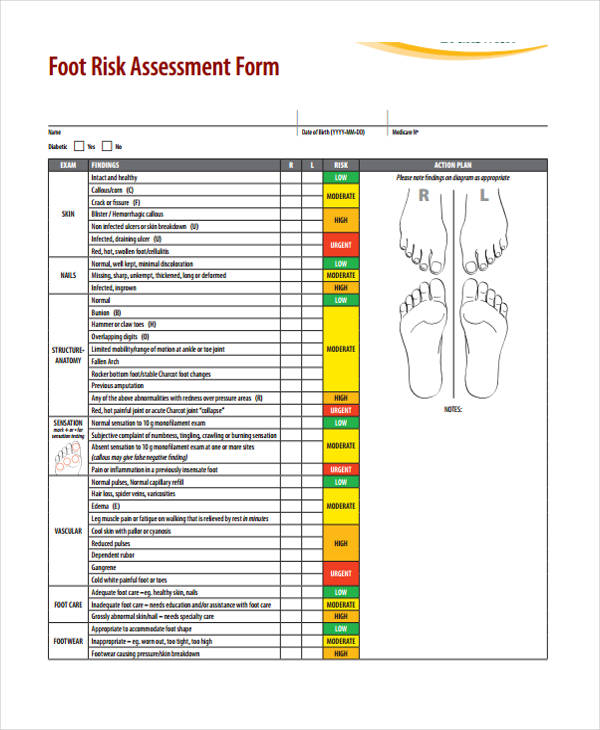 nursing foot risk assessment form