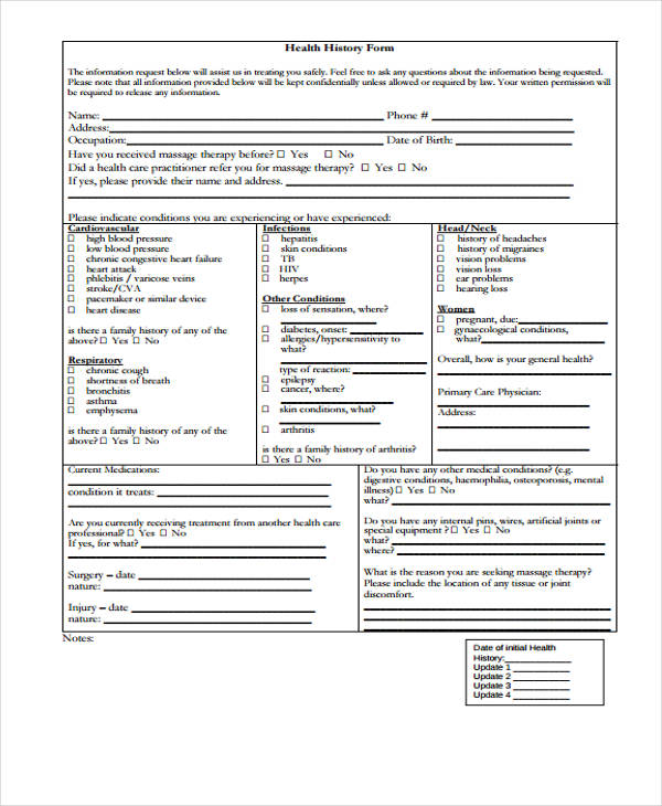 nursing health history assessment form