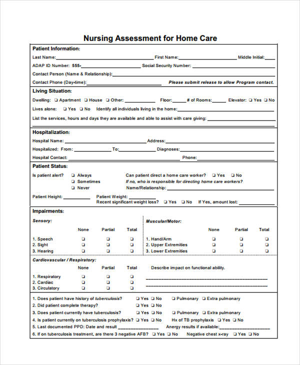 nursing home care assessment form