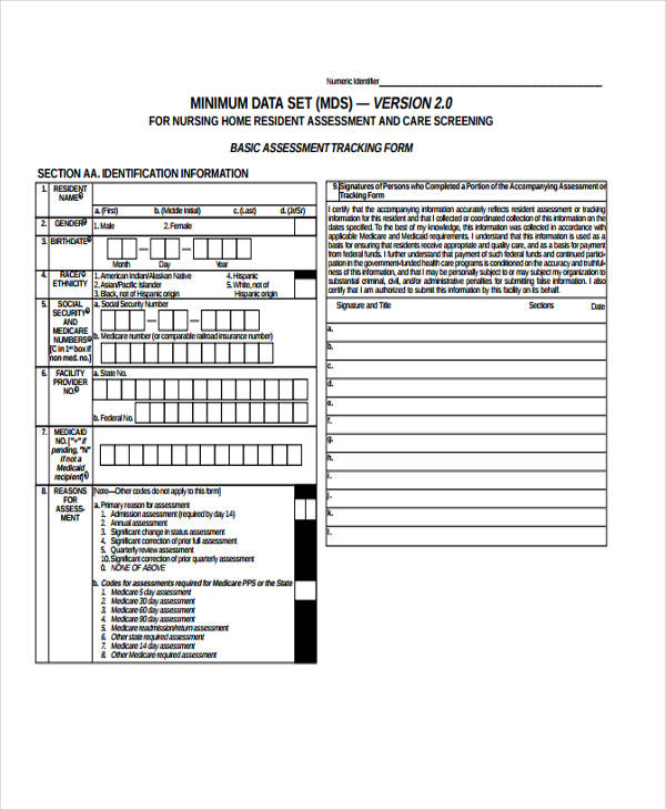 nursing home resident assessment form