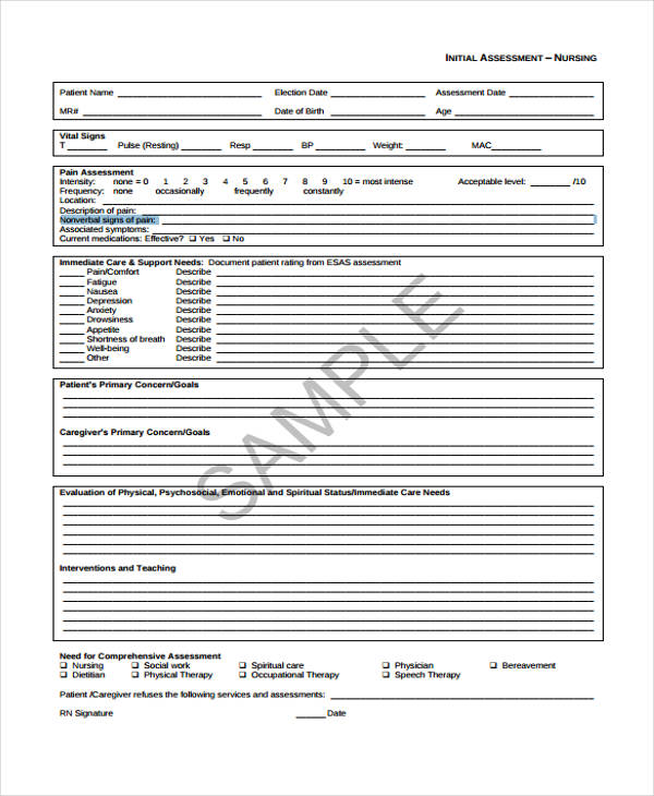 nursing initial patient assessment form