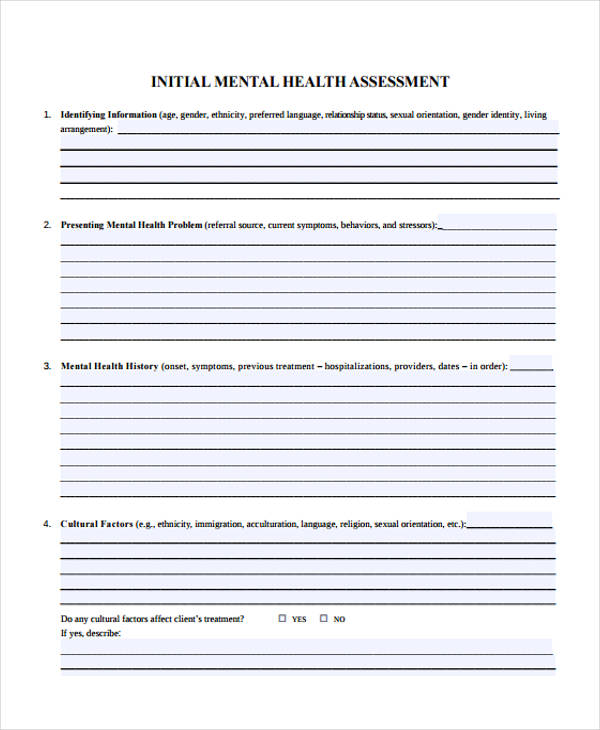 nursing mental health assessment form