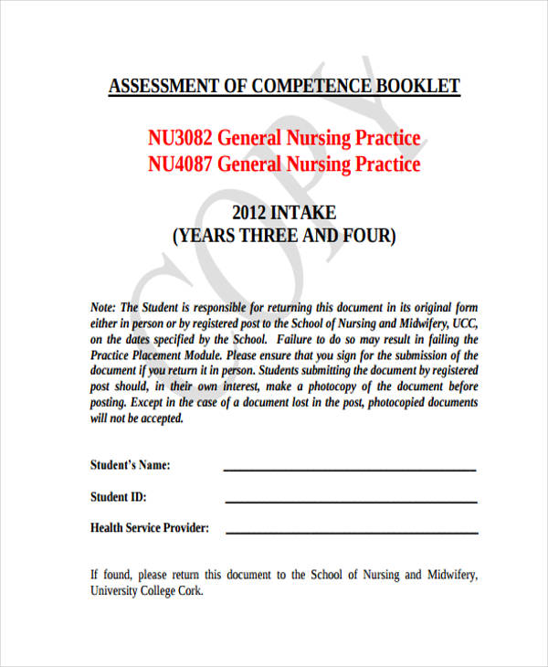 nursing practice assessment form