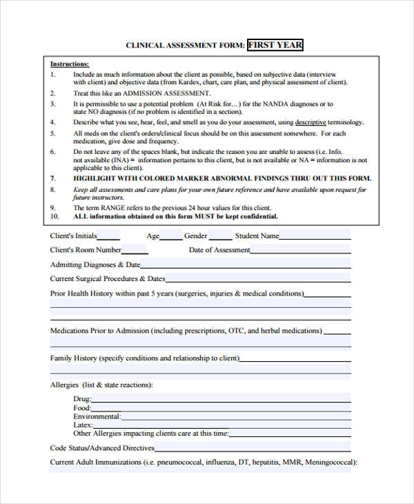 nursing practice assessment framework form