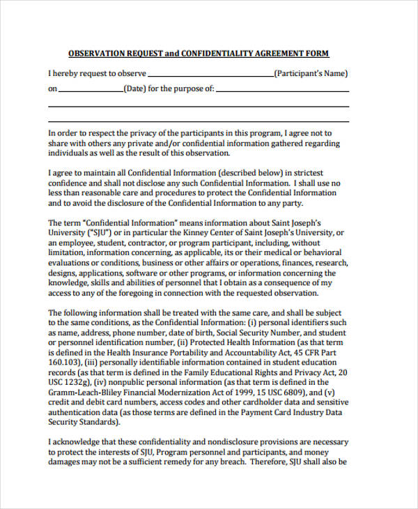 observation request confidentiality agreement form
