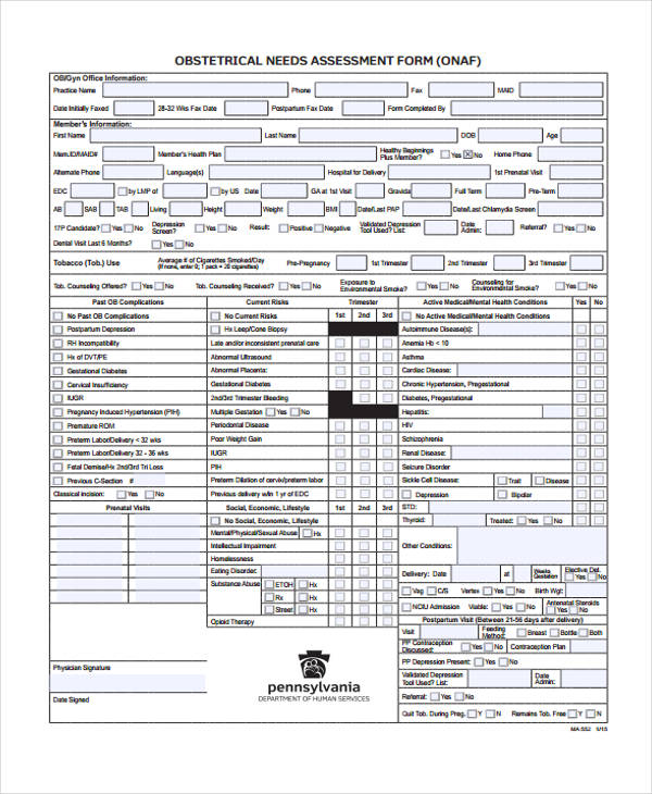 obstetrical needs assessment form