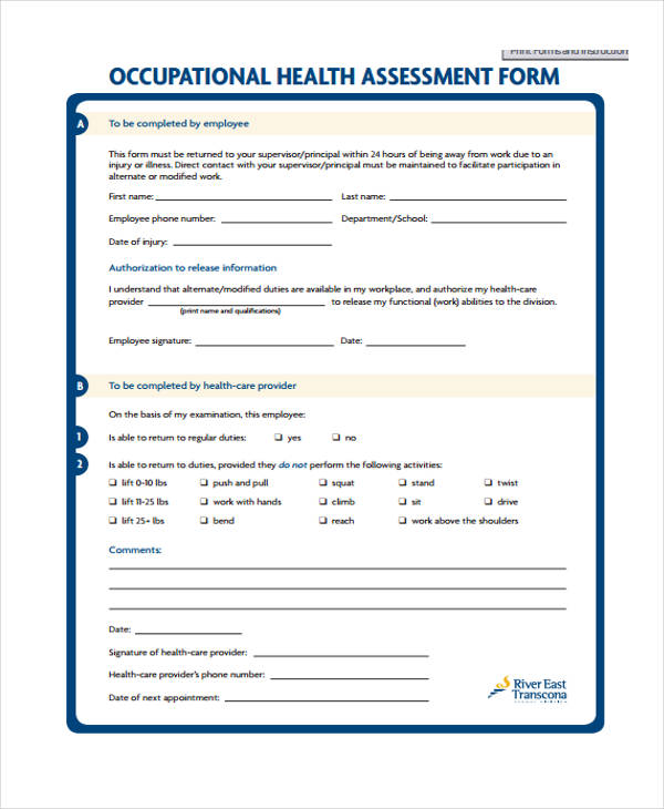 occupational health assessment questionnaire form