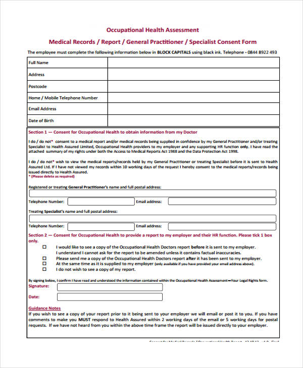 Health assessment form example for Workplace hazard assessment template