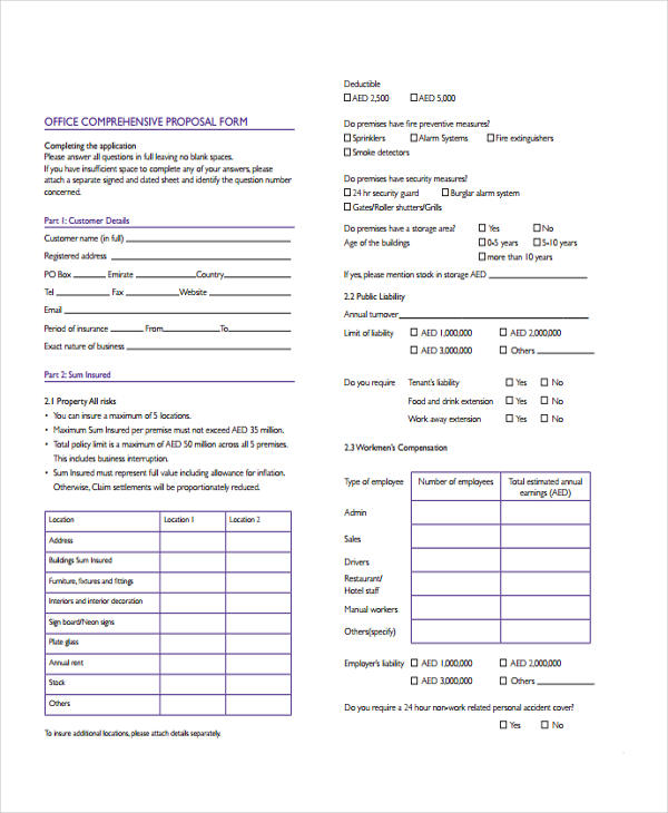 office comprehensive proposal form