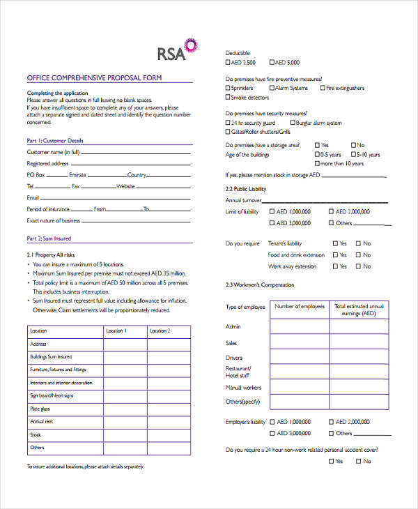 office comprehensive proposal form4