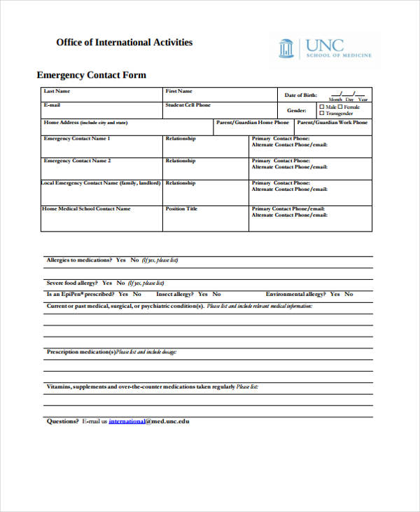 office international activities emergency contact form