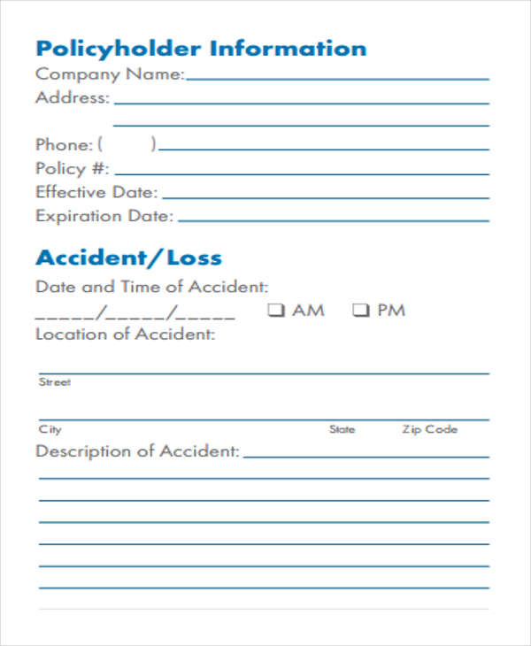 29 Accident Report Forms in PDF