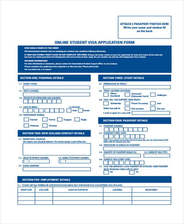 online student visa application form